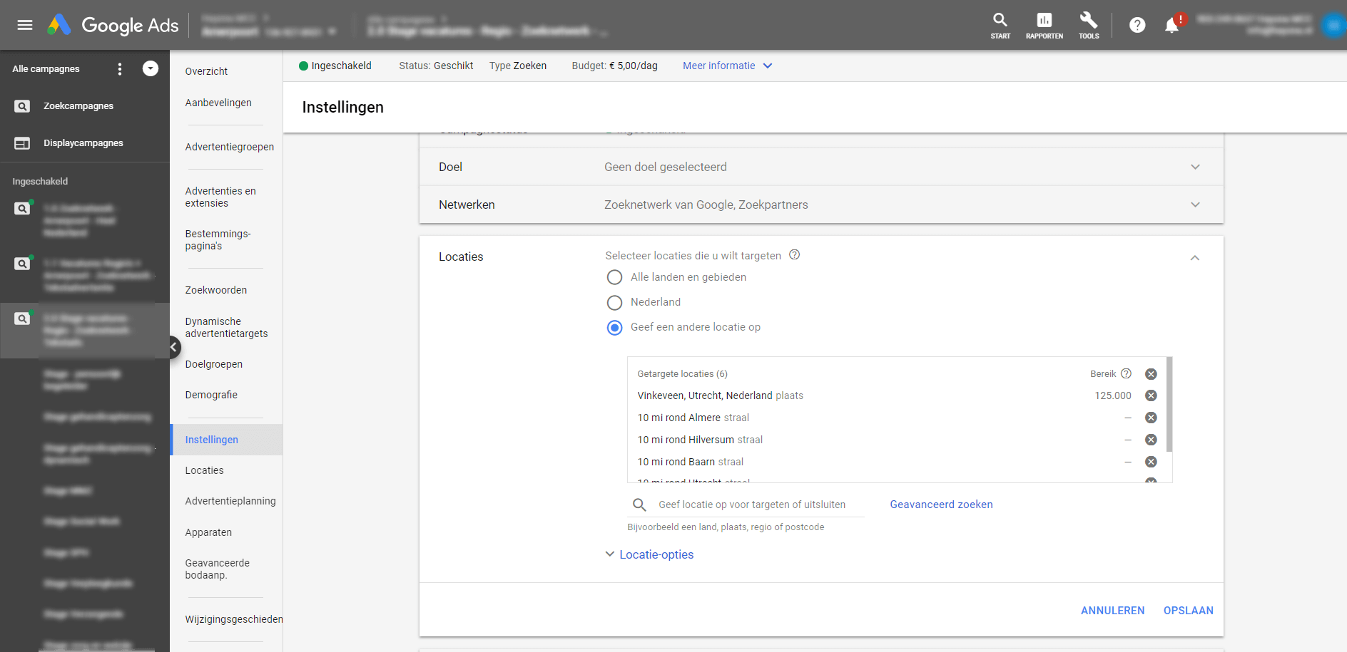 Adwords regiotargeting instellen