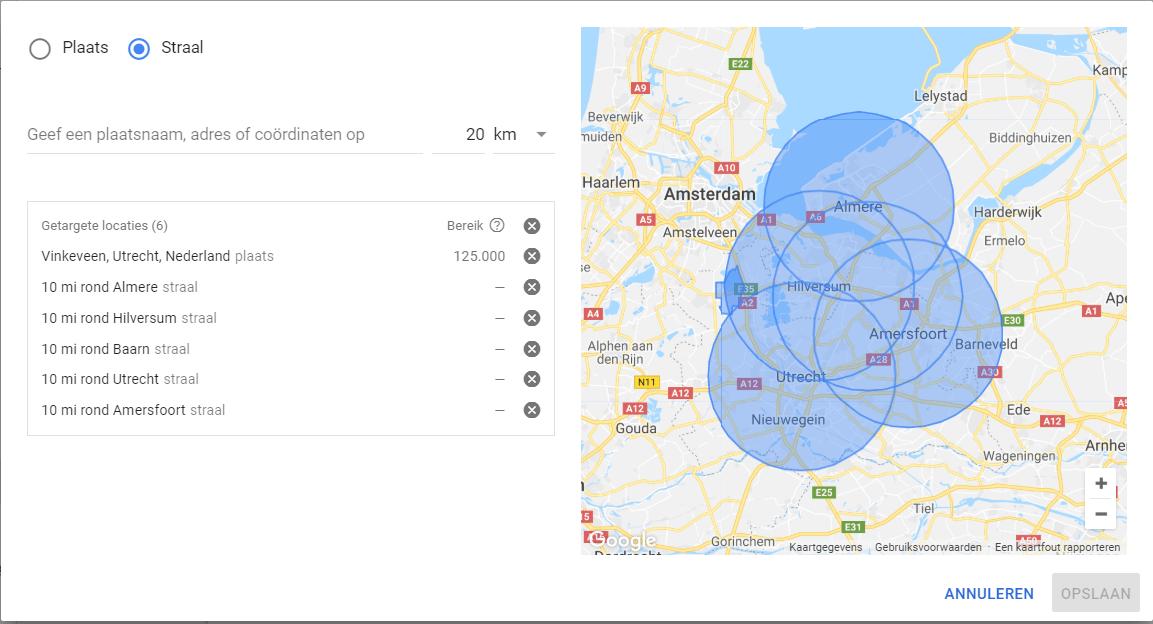 Geavanceerde regio targeting
