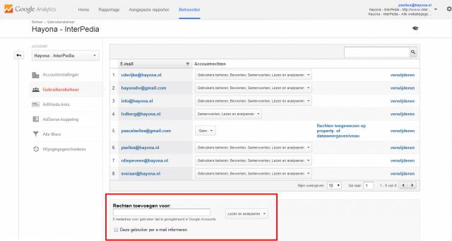 gebruikersbeheer google analytics