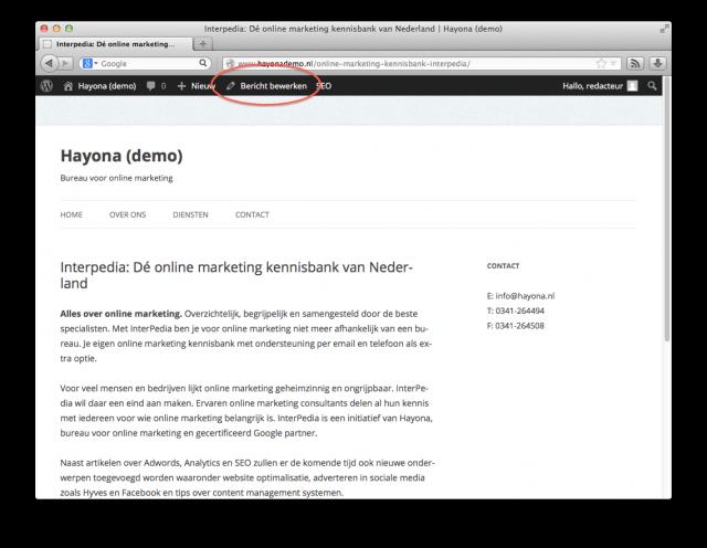 De 'Bericht bewerken' knop in de WordPress toolbar
