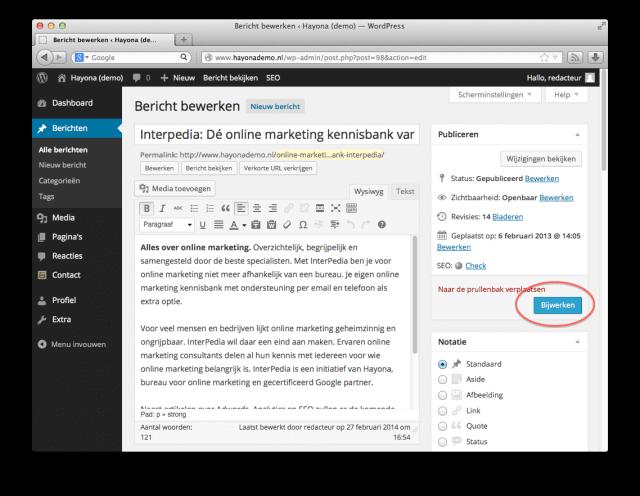 'Bericht bijwerken' in WordPress