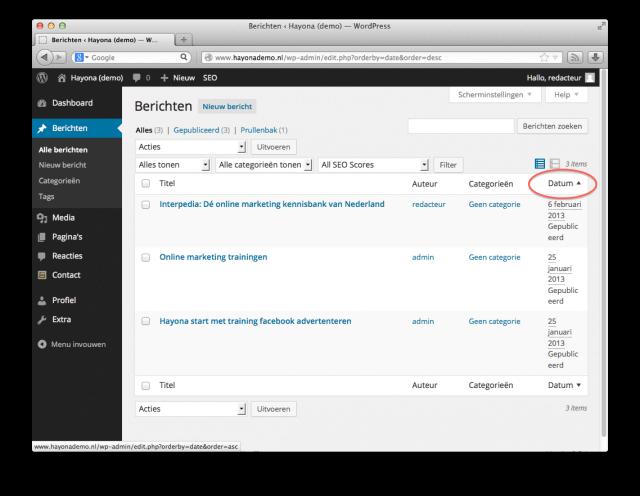 Berichten sorteren op datum in WordPress