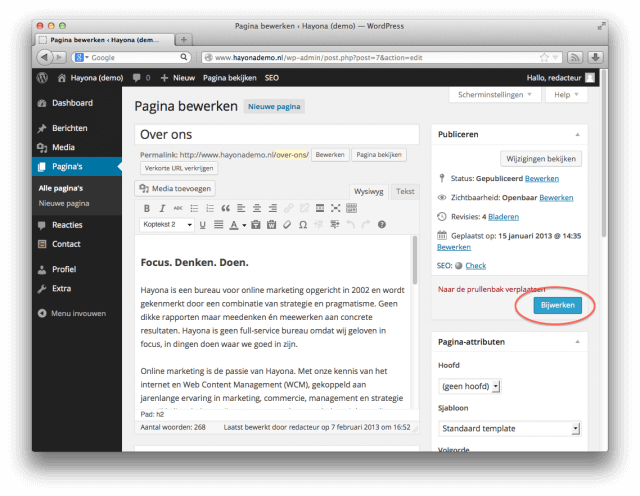 'Pagina bijwerken' in WordPress
