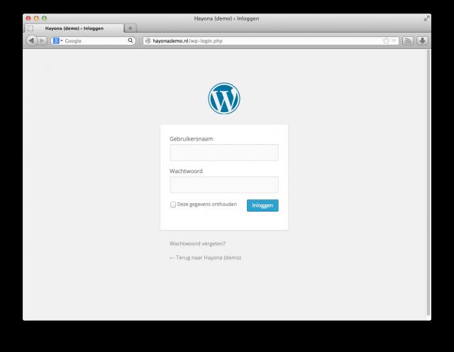 Login scherm WordPress
