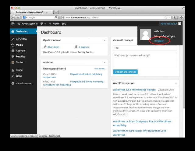 WordPress uitloggen