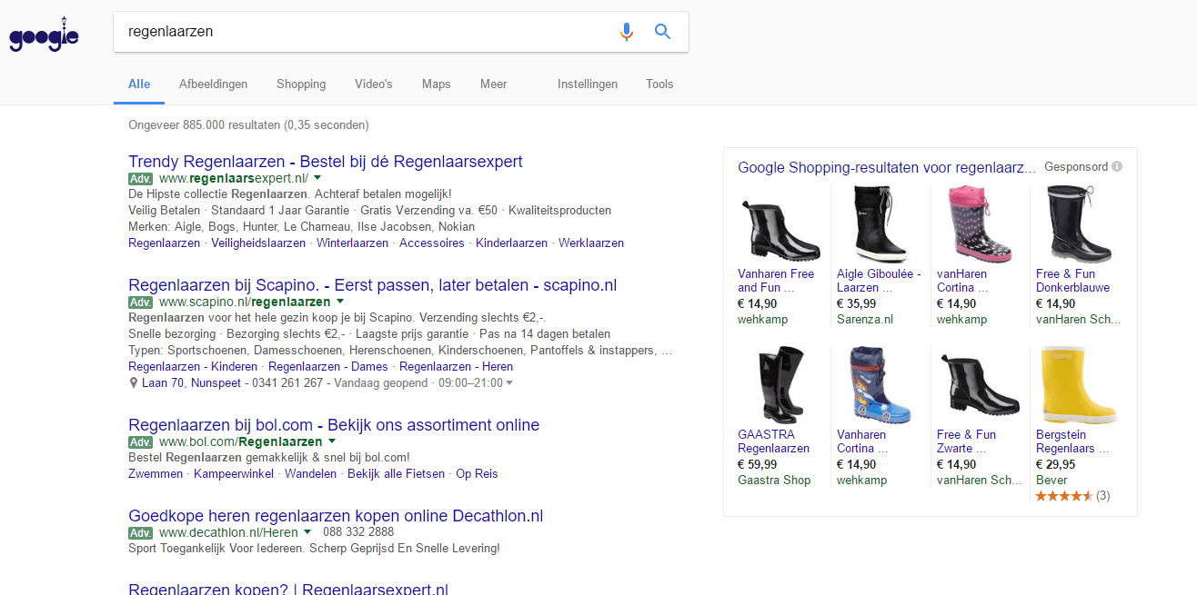 adwords product listing advertenties voorbeeld