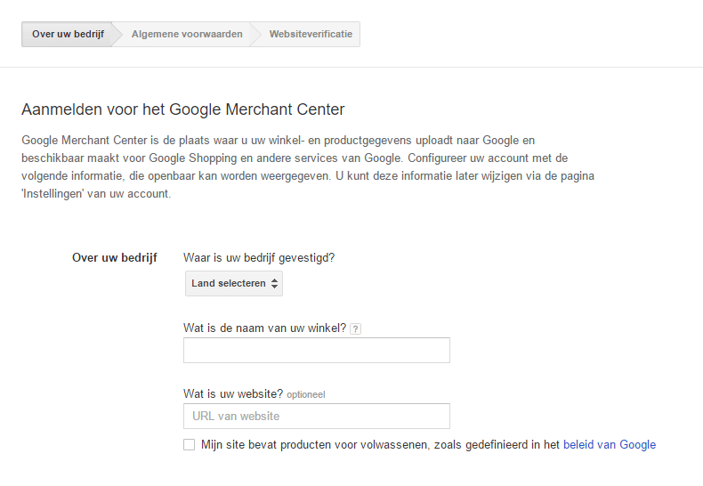 google merchant center aanmelden
