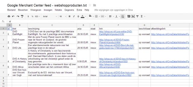 google spreadsheet voorbeeld