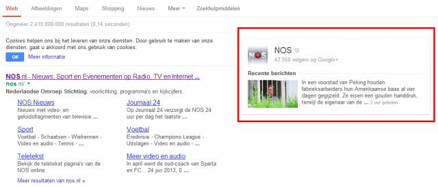 Google+ pagina in Google