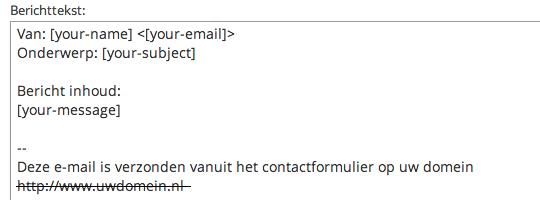 Berichttekst - Contact Form 7