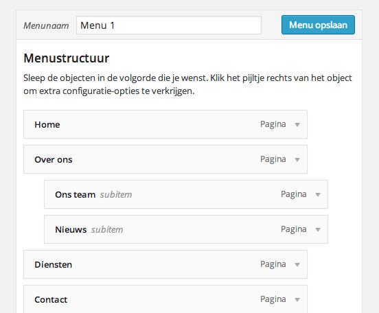 WordPress menu met niveau's