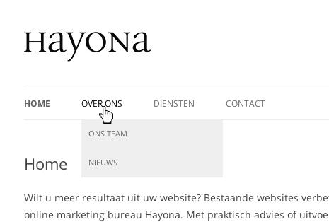 WordPress menu bekijken