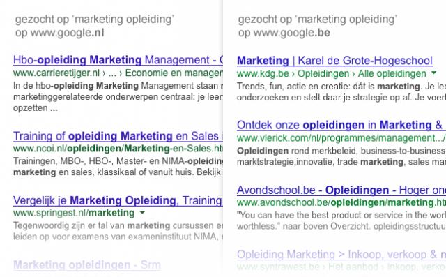 De resultaten voor zoekterm 'opleiding marketing' op google.nl (links) en google.be (rechts)
