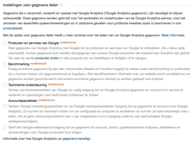 Google Analytics gegevens delen uitschakelen