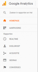 Rapporten in google analytics