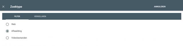 Search Console resultaten van de afbeeldingen in Google