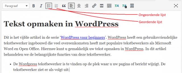Lijsten opstellen in WordPress tekst