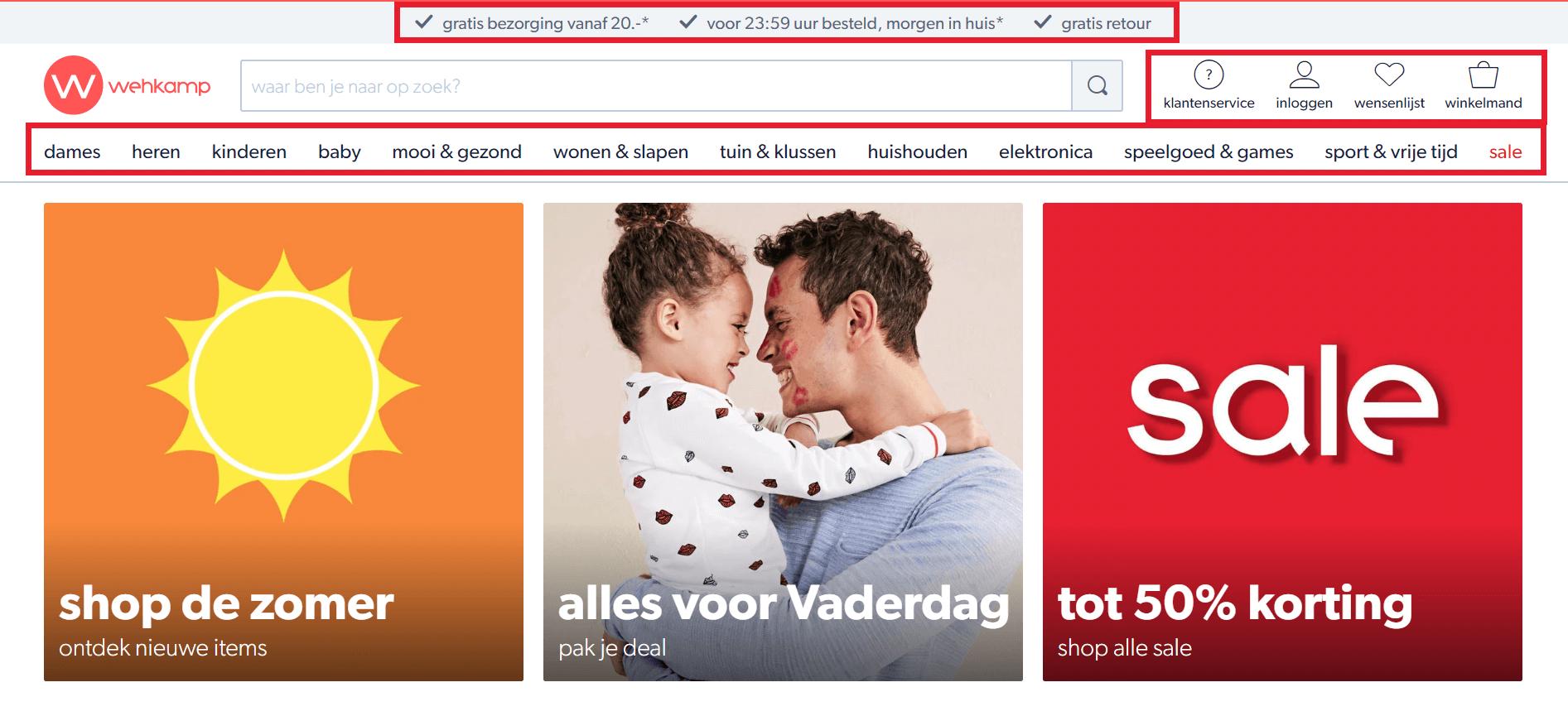Navigatiestructuur op Wehkamp.nl