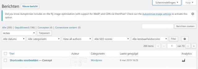 Scherminstellingen voor berichten WordPress