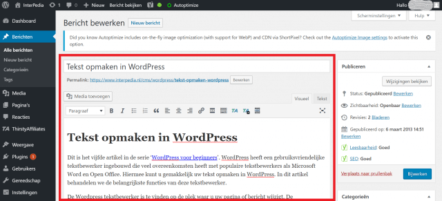 Tekst bewerken in WordPress