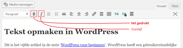Vet en cursief tekst opmaken in WordPress
